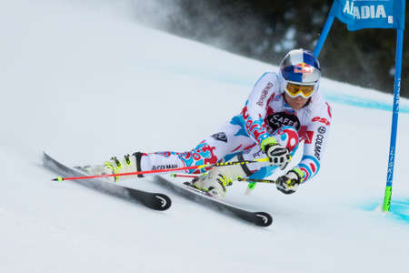 slalom: Val Badia, Italy 21 December 2014. PINTURAULT Alexis (Fra) competing in the Audi Fis Alpine Skiing World Cup Men's Giant Slalom on the Gran Risa Course in the dolomite mountain range. Editorial