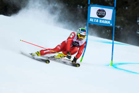 samuel: Val Badia, Italy 21 December 2014. Samuel Moling (Ita) Forerunners in the Audi Fis Alpine Skiing World Cup Men's Giant Slalom on the Gran Risa Course in the dolomite mountain range. Editorial