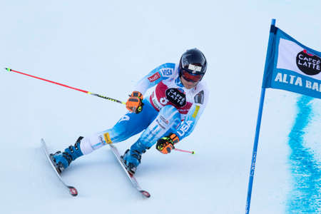 fis: Val Badia, Italy 21 December 2014. JITLOFF Tim (Usa) competing in the Audi Fis Alpine Skiing World Cup Men's Giant Slalom on the Gran Risa Course in the dolomite mountain range.