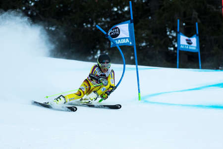 fis: Val Badia, Italy 21 December 2014. WINDINGSTAD Rasmus (Nor) competing in the Audi Fis Alpine Skiing World Cup Men's Giant Slalom on the Gran Risa Course in the dolomite mountain range.