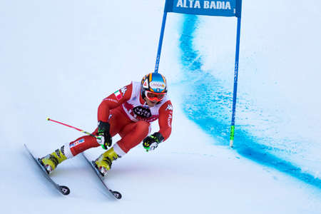 slalom: Val Badia, Italy 21 December 2014. NANI Roberto (Ita) competing in the Audi Fis Alpine Skiing World Cup Men's Giant Slalom on the Gran Risa Course in the dolomite mountain range.