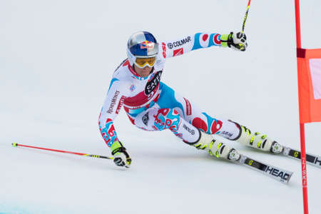 fis: Val Badia, Italy 21 December 2014. PINTURAULT Alexis (Fra) competing in the Audi Fis Alpine Skiing World Cup Men's Giant Slalom on the Gran Risa Course in the dolomite mountain range. Editorial