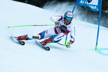 fis: Val Badia, Italy 21 December 2014. TUMLER Thomas (Sui) competing in the Audi Fis Alpine Skiing World Cup Men's Giant Slalom on the Gran Risa Course in the dolomite mountain range. Editoriali
