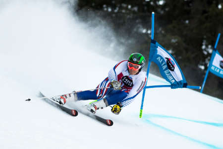 rus: Val Badia, Italy 21 December 2014. TRIKHICHEV Pavel (Rus) competing in the Audi Fis Alpine Skiing World Cup Men's Giant Slalom on the Gran Risa Course in the dolomite mountain range.
