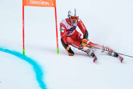 fis: Val Badia, Italy 21 December 2014. Hannes Zingerle (Ita) Forerunners in the Audi Fis Alpine Skiing World Cup Men's Giant Slalom on the Gran Risa Course in the dolomite mountain range.