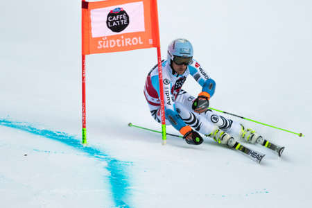 fis: Val Badia, Italy 21 December 2014. SCHWAIGER Dominik (Ger) competing in the Audi Fis Alpine Skiing World Cup Men's Giant Slalom on the Gran Risa Course in the dolomite mountain range.