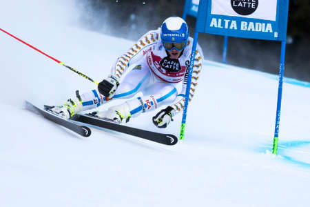 slalom: Val Badia, Italy 21 December 2014. MYHRER Andre (Swe) competing in the Audi Fis Alpine Skiing World Cup Men's Giant Slalom on the Gran Risa Course in the dolomite mountain range.