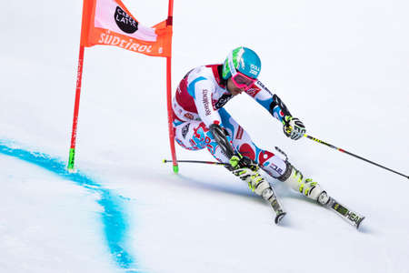 fis: Val Badia, Italy 21 December 2014. FAIVRE Mathieu (Fra) competing in the Audi Fis Alpine Skiing World Cup Men's Giant Slalom on the Gran Risa Course in the dolomite mountain range.