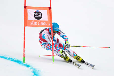 slalom: Val Badia, Italy 21 December 2014. MISSILLIER Steve (Fra) competing in the Audi Fis Alpine Skiing World Cup Men's Giant Slalom on the Gran Risa Course in the dolomite mountain range.