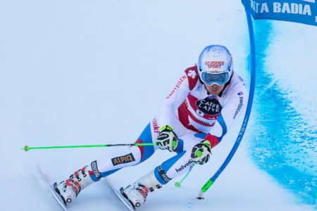 slalom: Val Badia, Italy 21 December 2014. JANKA Carlo (Sui) competing in the Audi Fis Alpine Skiing World Cup Men's Giant Slalom on the Gran Risa Course in the dolomite mountain range.