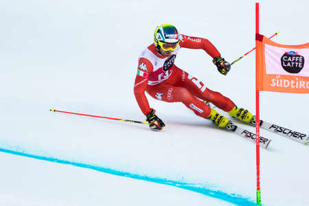 fis: Val Badia, Italy 21 December 2014. Samuel Moling (Ita) Forerunners in the Audi Fis Alpine Skiing World Cup Men's Giant Slalom on the Gran Risa Course in the dolomite mountain range. Editoriali