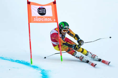 fis: Val Badia, Italy 21 December 2014. BROWN Phil (Can) competing in the Audi Fis Alpine Skiing World Cup Men's Giant Slalom on the Gran Risa Course in the dolomite mountain range.