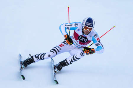 fis: Val Badia, Italy 21 December 2014. DOPFER Fritz (Ger) competing in the Audi Fis Alpine Skiing World Cup Men's Giant Slalom on the Gran Risa Course in the dolomite mountain range.