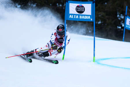 fis: Val Badia, Italy 21 December 2014. BANK Ondrej (Cze) competing in the Audi Fis Alpine Skiing World Cup Men's Giant Slalom on the Gran Risa Course in the dolomite mountain range.
