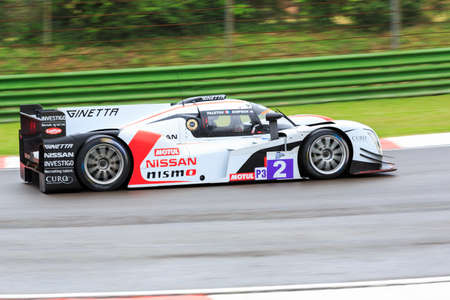 imola: Imola, Italy May 16, 2015: Nissan of Thiriet By LNT Ginetta Team, driven by Michael Simpson in action During The European Le Mans Series - 4 Hours of Imola Autodromo Dino Ferrari Enzo on May 16, 2015 in Imola, Italy.