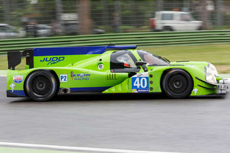 enzo: Imola, Italy May 16, 2015: Ligier JS Judd P2 of Krohn Racing Team, driven by Tracy Krohn - Niclas Jonsson - Oswaldo Negri Jr. in action During The European Le Mans Series - 4 Hours of Imola Autodromo Dino Ferrari Enzo on May 16 , 2015 in Imola, Italy.