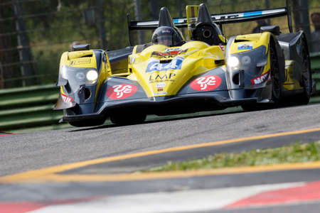 enzo: Imola, Italy May 16, 2015: 03R Oreca - Nissan of Ibanez Racing Team, driven by Pierre Perret - Jordan Perroy in action During The European Le Mans Series - 4 Hours of Imola Autodromo Dino Ferrari Enzo on May 16, 2015 in Imola, Italy.