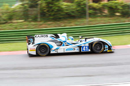 imola: Imola, Italy May 16, 2015: Gibson 015S Nissan of Greaves Motorsport Team, driven by Johnny Mowlem in action During The European Le Mans Series - 4 Hours of Imola Autodromo Dino Ferrari Enzo on May 16, 2015 in Imola, Italy.