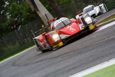 enzo: Imola, Italy - May 16, 2015: Oreca 05 Nissan of Thiriet By Tds Racing Team, driven by Pierre Thiriet - Ludovic Badey - Tristan Gommendy in action During The European Le Mans Series - 4 Hours of Imola Autodromo Dino Ferrari Enzo on May 16 , 2015 in Imola,