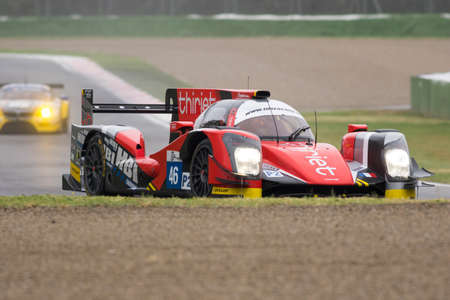 imola: Imola, Italy May 16, 2015: Oreca 05 Nissan of Thiriet By Tds Racing Team, driven by Pierre Thiriet - Ludovic Badey - Tristan Gommendy in action During The European Le Mans Series - 4 Hours of Imola Autodromo Dino Ferrari Enzo on May 16, 2015 in Imola, Ita