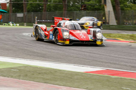 enzo: Imola, Italy May 16, 2015: Oreca 05 Nissan of Thiriet By Tds Racing Team, driven by Pierre Thiriet - Ludovic Badey - Tristan Gommendy in action During The European Le Mans Series - 4 Hours of Imola Autodromo Dino Ferrari Enzo on May 16, 2015 in Imola, Ita