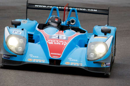 enzo: Imola, Italy - May 16, 2015: Morgan - Nissan of Pegasus Racing Team, driven by The Roussel - David Cheng - Julien Schell in action During The European Le Mans Series - 4 Hours of Imola Autodromo Dino Ferrari Enzo on May 16, 2015 in Imola, Italy.