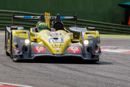 enzo: Imola, Italy - May 16, 2015: 03R Oreca - Nissan of Ibanez Racing Team, driven by Pierre Perret - Jordan Perroy in action During The European Le Mans Series - 4 Hours of Imola Autodromo Dino Ferrari Enzo on May 16, 2015 in Imola , Italy.