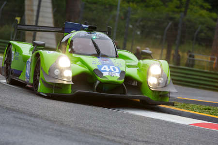 js: Imola, Italy - May 16, 2015: Ligier JS Judd P2 of Krohn Racing Team, driven by Tracy Krohn - Niclas Jonsson - Oswaldo Negri Jr. in action During The European Le Mans Series - 4 Hours of Imola Autodromo Dino Ferrari Enzo on May 16, 2015 in Imola, Italy. Editorial