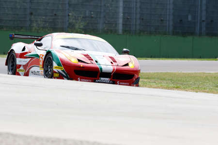 mann: Imola, Italy - May 16, 2015: Ferrari F458 of Italian AF Corse team, driven by Peter Mann - Raffaele Giammaria and Matteo Cressoni in action During The European Le Mans Series - 4 Hours of Imola Autodromo Dino Ferrari Enzo on May 16, 2015 in Imola, Italy.