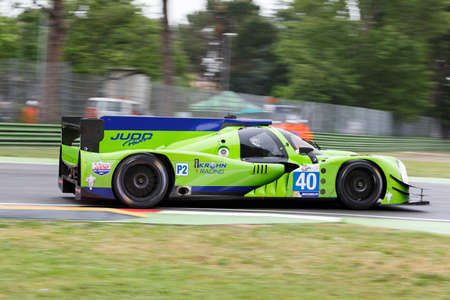 enzo: Imola, Italy - May 16, 2015: Ligier JS Judd P2 of Krohn Racing Team, driven by Tracy Krohn - Niclas Jonsson - Oswaldo Negri Jr. in action During The European Le Mans Series - 4 Hours of Imola Autodromo Dino Ferrari Enzo on May 16, 2015 in Imola, Italy. Editorial