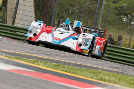 enzo: Imola, Italy - May 16, 2015: 03R Oreca Nissan of Eurasia Motorsport Team, driven by Jun Jin Pu - Nico Pieter de Bruijn in action During The European Le Mans Series - 4 Hours of Imola Autodromo Dino Ferrari Enzo on May 16, 2015 in Imola, Italy.