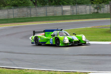imola: Imola, Italy - May 16, 2015: Ligier JS Judd P2 of Krohn Racing Team, driven by Tracy Krohn - Niclas Jonsson - Oswaldo Negri Jr. in action During The European Le Mans Series - 4 Hours of Imola Autodromo Dino Ferrari Enzo on May 16, 2015 in Imola, Italy. Editorial