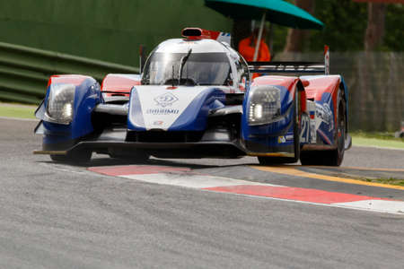 enzo: Imola, Italy - May 16, 2015: Nissan BR01 of SMP Racing Team, driven by Maurizio Mediani - David Markozov - Nicolas Minassian in action During The European Le Mans Series - 4 Hours of Imola Autodromo Dino Ferrari Enzo on May 16, 2015 Imola, Italy.