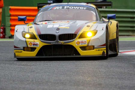 imola: Imola, Italy May 16, 2015: BMW Z4 of BMW Team MarcVDS Team, driven by Andy Priaulx - Henry Hassid - Jesse Krohn in action During The European Le Mans Series - 4 Hours of Imola Autodromo Dino Ferrari Enzo on May 16, 2015 Imola, Italy.