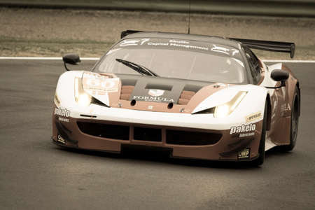 imola: Imola, Italy May 16, 2015: Ferrari F458 Italy of FORMULA RACING Team, driven by Johnny Laursen - Mikkel Mac - Andrea Rizzoli in action During The European Le Mans Series - 4 Hours of Imola Autodromo Dino Ferrari Enzo on May 16, 2015 Imola, Italy.
