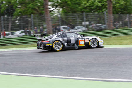 during: Imola, Italy May 16, 2015: Porsche 911 RSR of Proton COMPETITION Team, driven by Richard Lietz - Marco Mapelli - Christian Ried in action During The European Le Mans Series - 4 Hours of Imola Autodromo Dino Ferrari Enzo on May 16, 2015 Imola, Italy.