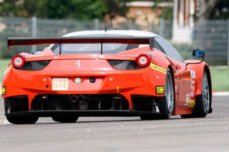 imola: Imola, Italy – May 16, 2015: Ferrari F458 Italia of Af Corse Team, driven by Duncan Cameron  - Matt Griffin  and Aaron Scott in action during the European Le Mans Series - 4 Hours of Imola in Autodromo Enzo & Dino Ferrari on May 16, 2015 in Imola, Italy