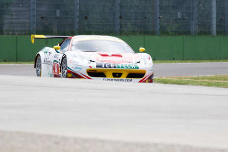 enzo: Imola, Italy May 16, 2015: Ferrari F458 GT3 of Italian AF Corse team, driven by Mads Rasmussen - Felipe Barreiros - Francisco Guedes, in action During The European Le Mans Series - 4 Hours of Imola Autodromo Dino Ferrari Enzo on May 16, 2015 in Imola, Ita