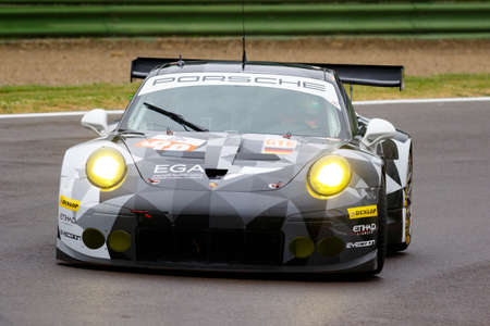 imola: Imola, Italy May 16, 2015: Porsche 911 RSR of Proton COMPETITION Team, driven by Richard Lietz - Marco Mapelli - Christian Ried in action During The European Le Mans Series - 4 Hours of Imola Autodromo Dino Ferrari Enzo on May 16, 2015 Imola, Italy.