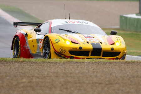 imola: Imola, Italy May 16, 2015: Ferrari F458 Italy of JMW Motorsport Team, driven by George Richardson - Robert Smith - Samuel Tordoff in action During The European Le Mans Series - 4 Hours of Imola Autodromo Dino Ferrari Enzo on May 16, 2015 Imola, Italy. Editorial