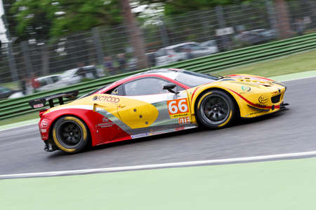 enzo: Imola, Italy May 16, 2015: Ferrari F458 Italy of JMW Motorsport Team, driven by George Richardson - Robert Smith - Samuel Tordoff in action During The European Le Mans Series - 4 Hours of Imola Autodromo Dino Ferrari Enzo on May 16, 2015 Imola, Italy. Editorial