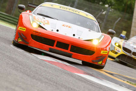 imola: Imola, Italy May 16, 2015: Ferrari F458 of Italian AF Corse team, driven by Duncan Cameron - Matt Griffin and Aaron Scott in action During The European Le Mans Series - 4 Hours of Imola Autodromo Dino Ferrari Enzo on May 16, 2015 Imola, Italy.