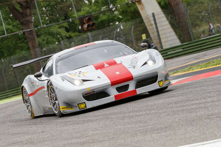 enzo: Imola, Italy May 16, 2015: Ferrari F458 GT3 of Italian AF Corse team, driven by Thomas Flohr - Francesco Castellacci - Stuart Hall in action During The European Le Mans Series - 4 Hours of Imola Autodromo Dino Ferrari Enzo on May 16, 2015 in Imola, Italy.