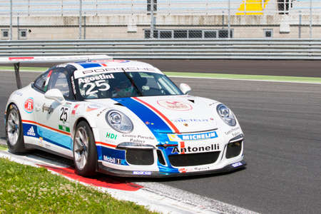 gt3: Monza, Italy - May 30, 2015: Porsche 911 GT3 Cup of Antonelli Motorsport team, driven  by AGOSTINI Riccardo during the Porsche Carrera Cup Italia - Race in Autodromo Nazionale di Monza Circuit on May 30, 2015 in Monza, Italy.