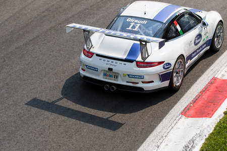 monza: Monza, Italy - May 30, 2015: Porsche 911 GT3 Cup of Antonelli Motorsport team, driven  by GIRAUDI Gian Luca during the Porsche Carrera Cup Italia - Race in Autodromo Nazionale di Monza Circuit on May 30, 2015 in Monza, Italy.