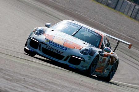 carrera: Monza, Italy - May 30, 2015: Porsche 911 GT3 Cup of Ebimotors team, driven  by DE AMICIS Alberto during the Porsche Carrera Cup Italia - Race in Autodromo Nazionale di Monza Circuit on May 30, 2015 in Monza, Italy.