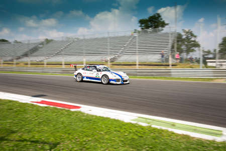 monza: Monza, Italy - May 30, 2015: Porsche 911 GT3 Cup of Antonelli Motorsport team, driven  by AGOSTINI Riccardo during the Porsche Carrera Cup Italia - Race in Autodromo Nazionale di Monza Circuit on May 30, 2015 in Monza, Italy.