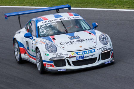 carrera: Monza, Italy - May 30, 2015: Porsche 911 GT3 Cup of LEM Racing team, driven  by Colombo Stefano  during the Porsche Carrera Cup Italia - Race in Autodromo Nazionale di Monza Circuit on May 30, 2015 in Monza, Italy. Editorial