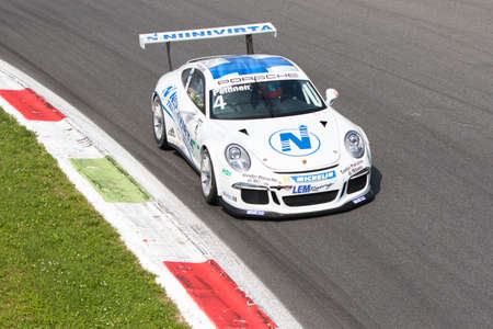 monza: Monza, Italy - May 30, 2015: Porsche 911 GT3 Cup of LEM Racing team, driven  by PELLINEN Aku during the Porsche Carrera Cup Italia - Race in Autodromo Nazionale di Monza Circuit on May 30, 2015 in Monza, Italy.
