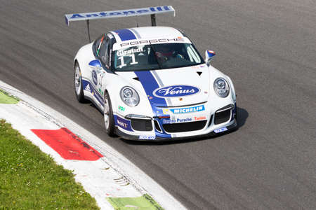 carrera: Monza, Italy - May 30, 2015: Porsche 911 GT3 Cup of Antonelli Motorsport team, driven  by GIRAUDI Gian Luca during the Porsche Carrera Cup Italia - Race in Autodromo Nazionale di Monza Circuit on May 30, 2015 in Monza, Italy.